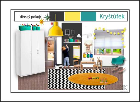 Interiérový design Praha_dětský pokoj, koberec, tapeta