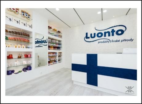 Prodejna LUONTO_finské produkty_zakázkové interiéry Praha_Komerční prostory
